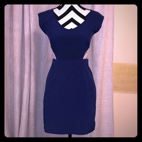Solemio Dresses & Skirts - Beautiful Navy Blue and Ivory Lace cut out dress